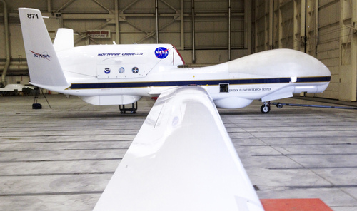 FILE - This Sept.  2013 file photo shows The Reaper drone, now known as a Global Hawk, at Edwards Air Force Base in California. The Federal Aviation Administration announced six states on Monday Dec. 30, 2013, that will develop test sites for drones, a critical next step for the march of the unmanned aircraft into U.S. skies. Alaska, Nevada, New York, North Dakota, Texas and Virginia will host the research sites, the agency said. (AP Photo/ Las Vegas Sun, Richard Velotta, File) LAS VEGAS REVIEW JOURNAL OUT