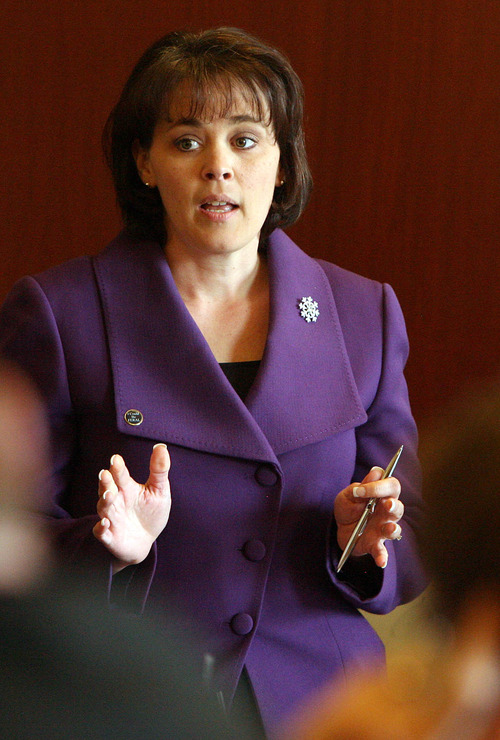 LEAH HOGSTEN     Tribune file photo Becky Lockhart, R-Provo, Utah's first House speaker, was re-elected to the post by her Republican colleagues on Thursday evening. She fended off a challenge from Rep. Mike Noel, R-Kanab.