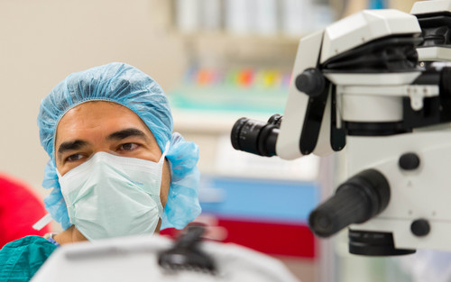 Trent Nelson  |  The Salt Lake Tribune Ophthalmologist Majid Moshirfar at the University of Utah's Moran Eye Center installed a tiny telescopic lens in the eye of an 86-year-old with advanced macular degeneration last week. The hour-long procedure was the first ever performed in Utah.
