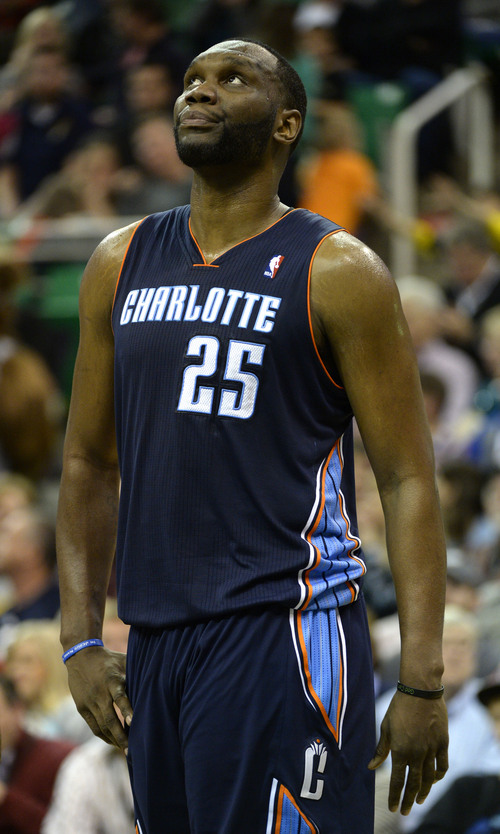 Rick Egan  | The Salt Lake Tribune   Charlotte Bobcats center Al Jefferson (25) checks out the scoreboard, as the Bobcats trail the Jazz, late in the game,in NBA action at the EnergySolutions Arena, Monday, December 30, 2013.,