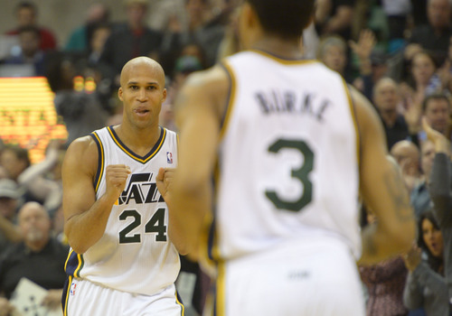 Rick Egan  | The Salt Lake Tribune   Utah Jazz small forward Richard Jefferson (24) greets Utah Jazz point guard Trey Burke (3) after Burke hit a 3-pointer giving the Jazz the lead, 80-77, with 19 seconds left in the game, in NBA action at the EnergySolutions Arena, Monday, December 30, 2013.,