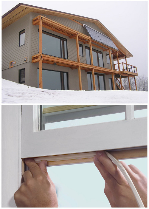FILE -This combination of Associated Press file photos shows, top, a house in Duluth, Minn.,with triple-paned, south-facing windows that draw heat from the sun, and bottom an undated photo provided by Lowe's shows weatherstripping being applied to a window. Since the early 2000s more states have adopted or toughened building codes to force builders to better seal homes so heat or air-conditioned air doesn't seep out so fast. (AP Photo/File)