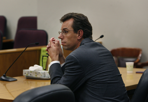 Scott Sommerdorf   |  The Salt Lake Tribune Martin McNeill's defense attorney Randy Spencer as he waits for the judge to arrive in court for the reading of the verdict.  His client was found guilty of murder and obstruction of justice early Saturday morning, November 9, 2013.