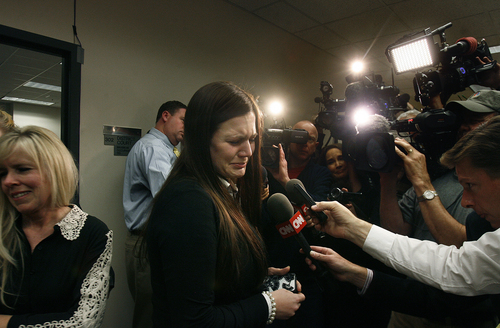 Scott Sommerdorf   |  The Salt Lake Tribune Alexis Somers is interviewed after leaving the court room. Her father, Martin MacNeill, was found guilty of the murder of Michele MacNeill, and obstruction of justice early Saturday morning, November 9, 2013.