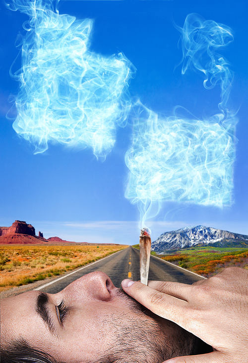Francisco Kjolseth  |  The Salt Lake Tribune With Utah sharing a border with a state that recently legalized marijuana, some unique questions can present themselves as we move forward living next to Colorado. Photo illustration by Francisco Kjolseth