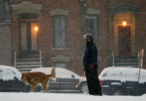 Christina Kistler  walks her dog Sheldon in snow on Thursday, Jan. 2, 2014, in Albany, N.Y. Snow and bone-chilling temperatures are greeting morning commuters across New York on the first work day of 2014, with some upstate areas expected to get more than a foot of snow by the weekend. (AP Photo/Mike Groll)