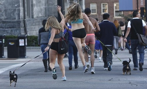 Leah Hogsten | The Salt Lake Tribune Underwear-clad runners took a jog from the Salt Lake City and County Building to the Utah Capitol, up State Street and back, Sunday, October 6, 2013, to beat the Guinness World Records the group set last year.