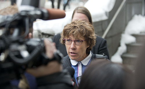 Lennie Mahler  |  The Salt Lake Tribune Attorney Peggy A. Tomsic speaks to the media in front of the Federal Court Building in Salt Lake City after U.S. District Judge Robert Shelby denied the state's request for a stay on his same-sex marriage ruling Monday, Dec. 23, 2013.