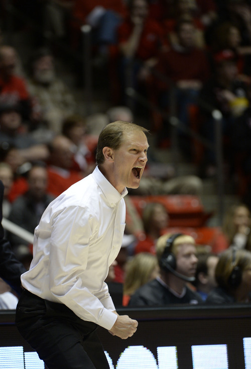 Francisco Kjolseth  |  The Salt Lake Tribune Oregon Ducks head coach Dana Altman yells at his team in game action at the Hunstman Center on the University of Utah campus on Thursday, Jan. 2, 2014.