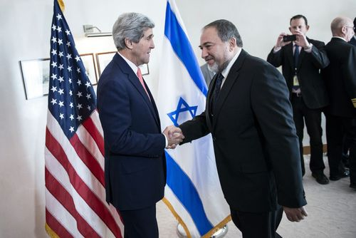 Brendan Smialowski  |  The Associated Press Israeli Foreign Minister Avigdor Lieberman, right, shakes hands with U.S. Secretary of State John Kerry, ahead of their meeting at the David Citadel hotel  in Jerusalem on Friday.