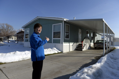 "Francisco Kjolseth  |  The Salt Lake Tribune Shirlene Stoven, 77, a 20-year resident of the Applewood Park manufactured home complex in Midvale says ""I hope this is my last home till I go in the dirt"" after finding out plans for 186 apartments to be built on the nearly 8-acres of land where she currently lives. Stoven becomes angry when people refer to her home as a mobile home and says ""there are no wheels on my manufactured home, it can't be driven away."" The people who own the 56  homes have seen their rents go up since the place was sold to Ivory Homes. According to a Midvale memorandum, the developer plans to build an apartment complex."