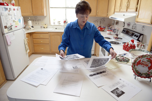 Francisco Kjolseth  |  The Salt Lake Tribune Shirlene Stoven, 77, overlooks the research she has done to find out the true intentions of the new owners of the Applewood Park in Midvale where she lives. The 56 home owners have seen their rents go up since the place was sold to Ivory Homes. According to a Midvale memorandum, the developer plans to build an apartment complex on the 8-acre parcel.