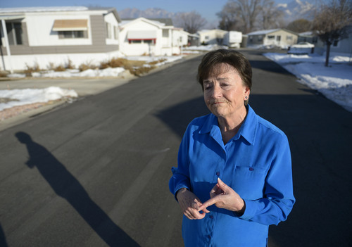 "Francisco Kjolseth  |  The Salt Lake Tribune Shirlene Stoven, 77, a 20-year resident of the Applewood Park manufactured home complex in Midvale becomes emotional as she thinks about her elederly neighbors who can't fight a possible eviction after finding out plans for 186 apartments to be built on the nearly 8-acres of land where she currently lives. Stoven becomes angry when people refer to her home as a mobile home and says ""there are no wheels on my manufactured home, it can't be driven away."" The people who own the 56  homes have seen their rents go up since the place was sold to Ivory Homes. According to a Midvale memorandum, the developer plans to build an apartment complex."