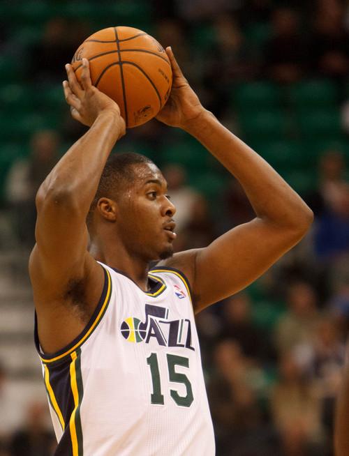 Trent Nelson  |  The Salt Lake Tribune Utah Jazz forward Derrick Favors (15), as the Utah Jazz host the Oklahoma City Thunder, NBA Basketball at EnergySolutions Arena in Salt Lake City, Wednesday October 30, 2013.