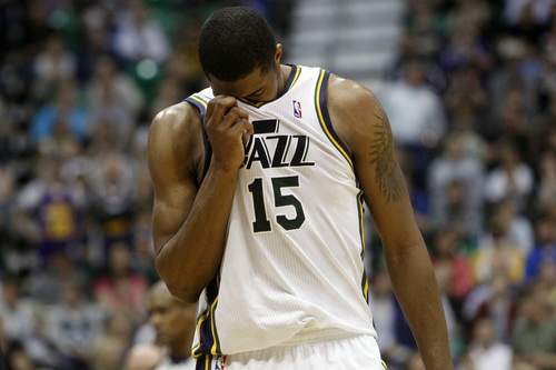 Chris Detrick  |  The Salt Lake Tribune Utah Jazz power forward Derrick Favors (15) walks off of the court during the second half of the game at EnergySolutions Arena Friday April 12, 2013. The Jazz won the game 107-100.