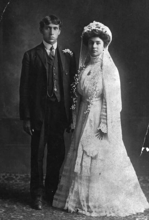 (Courtesy Utah State Historical Society)   Lebanese bride and groom Sarah George and John Attey, married in 1909.