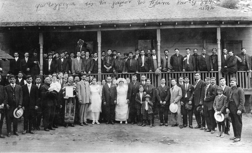 Courtesy Utah State Historical Society Tolanas wedding party standing before a Castle Gate, Utah, boarding house, 1919. A Cretan gathering.