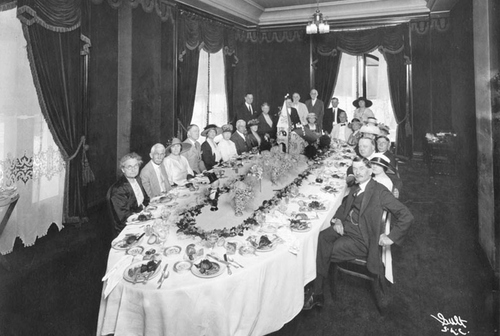 Smithsonian Office of Anthropology  Image shows Alfred W. McCune and his wife at their Golden Wedding Anniversary dinner at the Hotel Utah in 1922. Alfred W. McCune (1849-1927) was a railroad and mining tycoon.