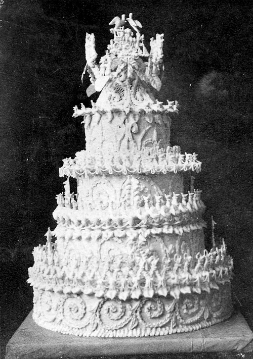 Courtesy Utah State Historical Society This is the wedding cake of George and Eliza Garrick Reid in 1885. Made and decorated by James Brown, pioneer baker of Salt Lake. Bake shop located next door west of Salt Lake Theatre.