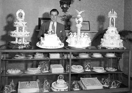 Courtesy Utah State Historical Society Wedding cakes at the West High Bakery in 1935.