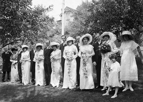 (Courtesy Utah State Historical Society)  Colonel E. A. Wall bridal party in 1912. Colonel Wall was a wealthy mining engineer who designed equipment that revolutionized mining processes at the time.