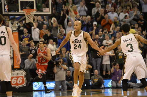 Rick Egan  | The Salt Lake Tribune   Utah Jazz small forward Richard Jefferson (24) runs back down court after hitting a shot to put the Jazz up 87-80, with12.5 seconds left in overtime, in NBA action, as the Jazz faced the Chicago Bulls, at the EnergySolutions Arena, Monday, November 25, 2013.