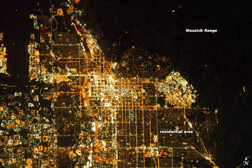 Courtesy NASA An astronaut at the International Space Station snapped this picture of Salt Lake City.