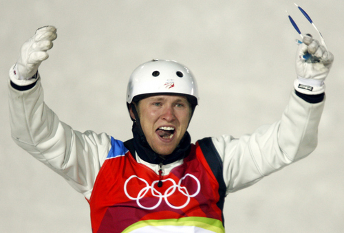 Jeret 'Speedy' Peterson of the United States reacts after performing the first jump of Men's Aerials final at the Turin 2006 Winter Olympic Games at Sauze d'Oulx, Italy, Thursday, Feb. 23, 2006. (AP Photo/Luca Bruno)