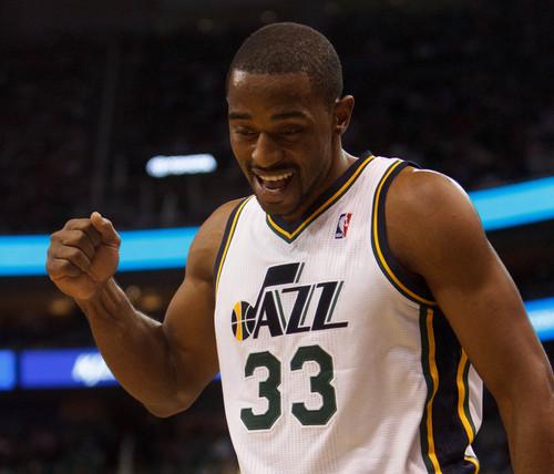 Trent Nelson  |  The Salt Lake Tribune Utah Jazz forward Mike Harris (33) pumps his fist as the Utah Jazz host the Oklahoma City Thunder, NBA Basketball at EnergySolutions Arena in Salt Lake City, Wednesday October 30, 2013.