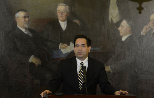 Francisco Kjolseth  |  The Salt Lake Tribune Utah Attorney General Sean Reyes holds a brief press conference at the Utah State Capitol on Monday, Jan. 6, 2014, to announce that the U.S. Supreme Court put same-sex marriages on hold, granting the state's request for a stay.