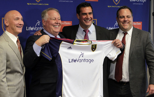 Leah Hogsten  |  Tribune file photo l-r Real Salt Lake President Bill Manning, owner Dell Loy Hansen, RSL new head coach Jeff Cassar and RSL General Manager Garth Lagerwey. Cassar was named RSL's third head coach in the franchise's 10-year history, Thursday, December 19, 2013. The hiring comes less than two weeks after Kreis, Cassar's close friend and confidant, left RSL to accept the coaching position at MLS expansion club New York City FC.