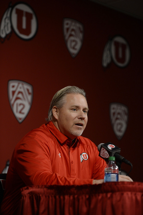 Francisco Kjolseth  |  The Salt Lake Tribune Dave Christensen, Utah's newest offensive coordinator is introduced during a press conference at the University of Utah football practice facility on Tuesday, Jan. 7. 2014.