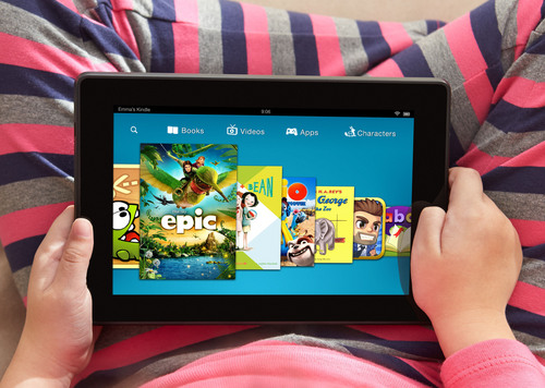 This undated photo provided by Amazon shows the Kindle FreeTime app displayed on a Kindle Fire HDX. Amazon.com Inc.'s Kindle FreeTime gives parents an easy way to block grown-up content. With FreeTime, kids get thousands of kid-friendly books, games and videos for a monthly fee.  (AP Photo/Amazon)