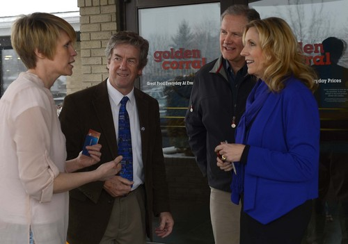Leah Hogsten  |  The Salt Lake Tribune l-r Conservative activists Mary Summerhays, Stephen Graham, Ray Lambert and Cherilyn Eagar after the Wednesday, January 8, 2014,  rally in support of traditional marriage at the Orem Golden Corral restaurant organized by Eagar.