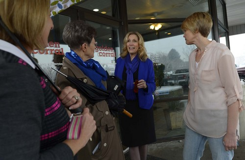 Leah Hogsten  |  The Salt Lake Tribune l-r Conservative activist Cherilyn Eagar (center) chats with fellow supporters and activists after the Wednesday, January 8, 2014,  rally in support of traditional marriage at the Orem Golden Corral restaurant organized by Eagar.
