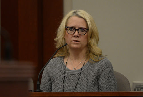 Rick Egan  | The Salt Lake Tribune   Carrie Pender speaks as a witness in the trial State vs. Esar Met in Judge Judith Atherton's courtroom at the Matheson Courthouse in Salt Lake City, Thursday, January 9, 2014. Esar Met is accused of killing 7-year-old Hser Ner Moo, who disappeared on March 31, 2008.