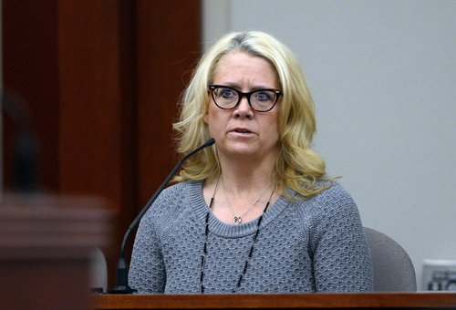 Carrie Pender speaks as a witness in the trial State vs. Esar Met in Judge Judith Atherton's court room, at the Matheson Courthouse in Salt Lake City, Thursday, Jan. 9, 2014.  Esar Met is accused of killing 7-year-old Hser Ner Moo, who disappeared on March 31, 2008. (AP Photo/The Salt Lake Tribune, Rick Egan)