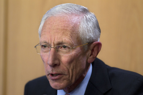 FILE - This Jan. 30, 2013 file photo shows Bank of Israel governor Stanley Fischer, speaking during a press conference in Jerusalem.   President Obama intends to nominate Stanley Fischer, a former head of the Bank of Israel, to be vice chairman of the Federal Reserve.  (AP Photo/Sebastian Scheiner)