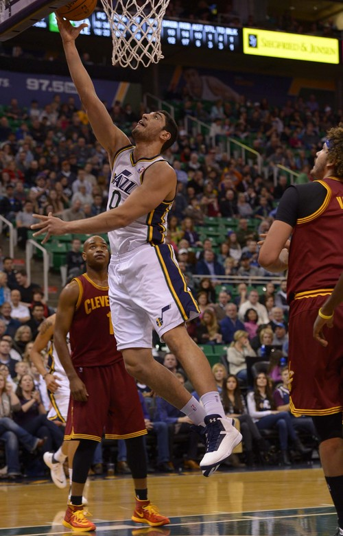 Leah Hogsten  |  The Salt Lake Tribune Utah Jazz center Enes Kanter (0) has 10 points in the first half. The Utah Jazz leads the Cleveland Cavaliers 49-46 at the half, Friday, January 10, 2014 at Energy Solutions Arena.