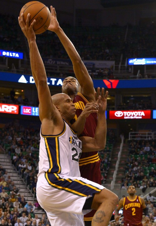 Leah Hogsten  |  The Salt Lake Tribune Utah Jazz small forward Richard Jefferson (24) is fouled by Cleveland Cavaliers point guard Jarrett Jack (1).The Utah Jazz are defeated by the Cleveland Cavaliers 113-102, Friday, January 10, 2014 at Energy Solutions Arena.