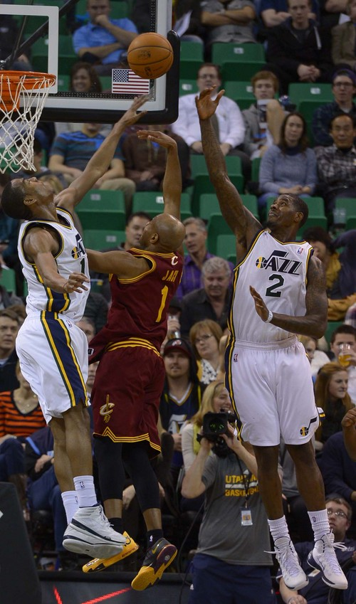 Leah Hogsten  |  The Salt Lake Tribune Utah Jazz point guard Alec Burks (10) and Utah Jazz power forward Marvin Williams (2) can't stop Cleveland Cavaliers point guard Jarrett Jack (1). The Utah Jazz are defeated by the Cleveland Cavaliers 113-102, Friday, January 10, 2014 at Energy Solutions Arena.