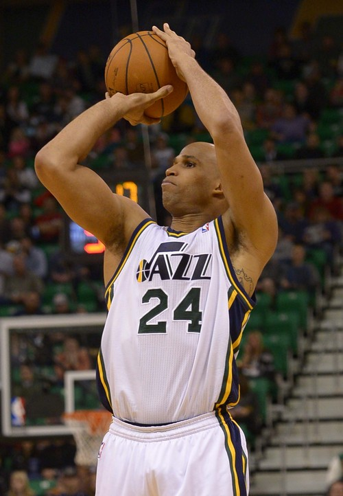 Leah Hogsten  |  The Salt Lake Tribune Utah Jazz small forward Richard Jefferson (24) has 11 points in the first half. The Utah Jazz leads the Cleveland Cavaliers 49-46 at the half, Friday, January 10, 2014 at Energy Solutions Arena.