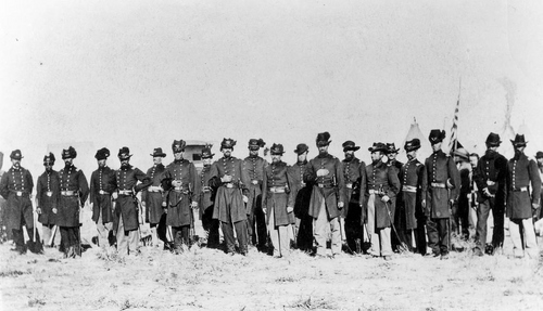 Photo Courtesy Utah State Historical Society  Utah Territorial Militia, Nauvoo Legion, officers and men of the Third Regiment of Infantry.