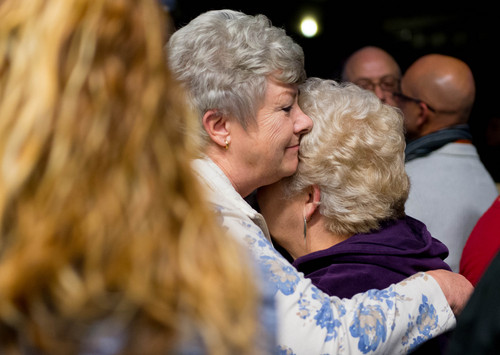 Trent Nelson  |  The Salt Lake Tribune Marge Willingham, 67, (left) and Marsha Hopkins, 63, enjoy their first dance as newlyweds at Love Elevated at the Rail Event Center Saturday Jan. 11, 2014. The event was held to honor same-sex marriages that occurred in the 17 days between U.S. District Judge Robert Shelbyís ruling striking down Utah's ban on gay marriages and the Supreme Court's stay on further marriages pending an appeal by the state.