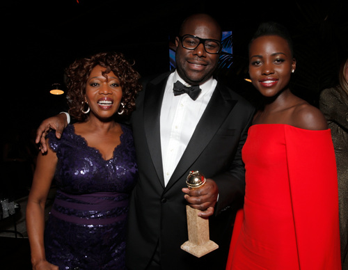 IMAGE DISTRIBUTED FOR FOX - From left, Alfre Woodward, Steve McQueen, and Lupita Nyong'o attend the FOX after party for the 71st Annual Golden Globes award show on Sunday, Jan. 12, 2014 in Beverly Hills, Calif. (Photo by Todd Williamson/Invision for FOX Broadcasting Company/AP Images)