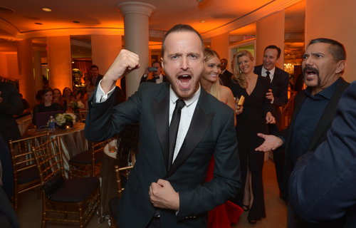 IMAGE DISTRIBUTED FOR AMC - Aaron Paul attends the AMC, Sundance and IFC viewing party for the Golden Globes, on Sunday, Jan. 12, 2014, in Beverly Hills, Calif. (Photo by John Shearer/Invision for AMC/AP Images)