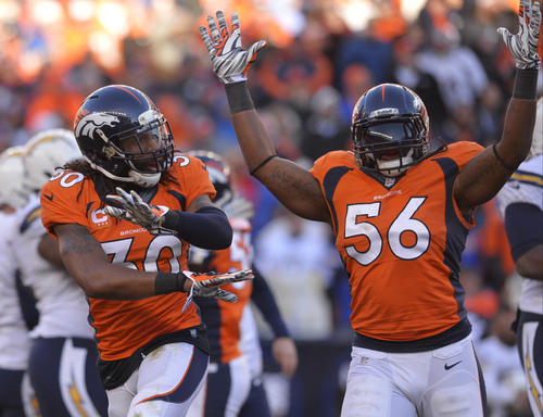 Denver Broncos strong safety David Bruton (30) and outside linebacker Nate Irving (56) react after the San Diego Chargers missed a field goal in the second quarter of an NFL AFC division playoff football game, Sunday, Jan. 12, 2014, in Denver. (AP Photo/Jack Dempsey)