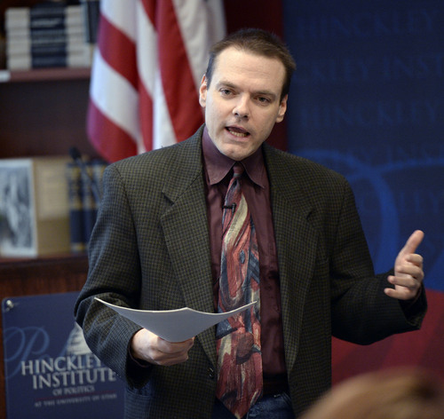 Al Hartmann  |  The Salt Lake Tribune Protect Our Neighborhood Elections, public relations director James Humpherys speaks to students at the University of Utah's  Hinckley Institute of Politics Monday January 13.  He provided a counter argument to the Count My Vote Initiative.