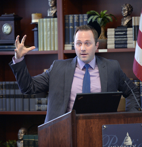 Al Hartmann  |  The Salt Lake Tribune Count My Vote Executive Director Taylor Morgan speaks to students at the University of Utah's Hinckley Institute of Politics Monday January 13.