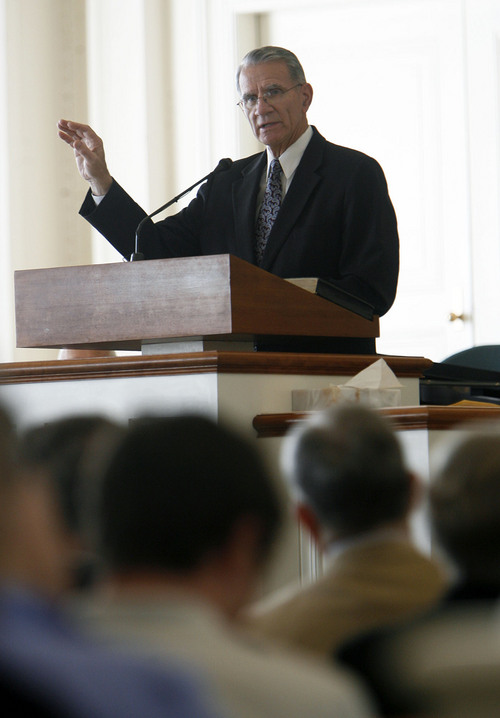 Francisco Kjolseth  |  The Salt Lake Tribune LDS general authority Jay E. Jensen of the Presidency of the Seventy gives a keynote address at the annual Evergreen Education and Resource Conferencein in the chapel at the Joseph Smith Memorial Building in Salt Lake City on Saturday, September 24, 2011. Evergreen is a group of partners that reaches out to Mormons with same-sex attraction.